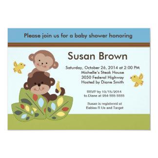 Gelockte Schwanz-Affe-Baby-Duschen-Einladung 12,7 X 17,8 Cm Einladungskarte