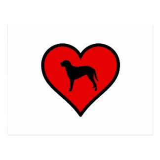 Gelockte überzogene Retriever-Herz-Liebe-Hunde Postkarte