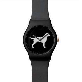 Gelockte überzogene Retriever-Silhouette Uhren
