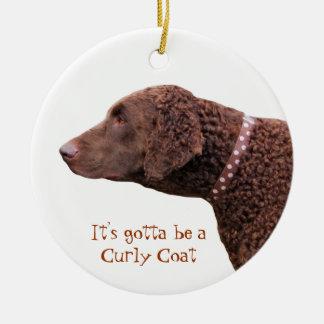 Gelockte überzogene Retrieverhundeverzierung, Gesc Weihnachtsbaum Ornamente