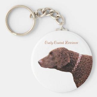 Gelockte überzogene Retrieverhundkeychain Standard Runder Schlüsselanhänger