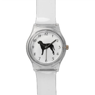 Gelockte überzogene RetrieverjagdhundSilhouette Armbanduhr