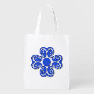 Gelockter blauer Entwurfs-wiederverwendbare Tasche Wiederverwendbare Einkaufstasche