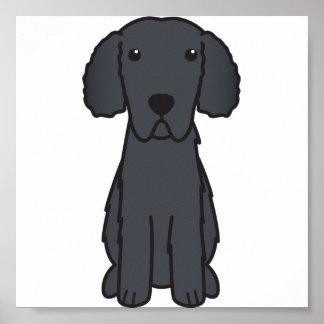 Gelockter überzogener Retriever-HundeCartoon Posterdruck