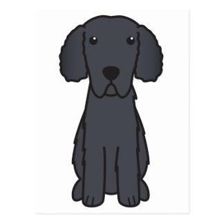 Gelockter überzogener Retriever-HundeCartoon Postkarte