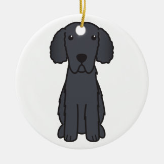 Gelockter überzogener Retriever-HundeCartoon Rundes Keramik Ornament