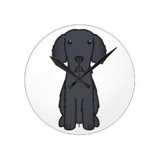 Gelockter überzogener Retriever-HundeCartoon Uhren
