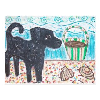Gelockter überzogener Retriever sammelt Seashells Postkarten