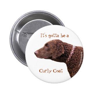 Gelockter überzogener Retrieverhundeknopf Button