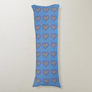 Gelocktes Herz-Silber auf blauem Körper-Kissen XXL Kissen
