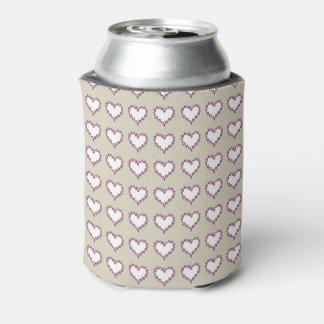 Gelocktes Herz-Weiß auf der Taupe-Soda-Dose cooler Dosenkühler