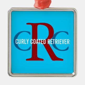 Gelocktes überzogenes Retriever-Zucht-Monogramm Quadratisches Silberfarbenes Ornament