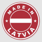gemacht im Lettland-Landesflaggeproduktaufkleber Runder Aufkleber