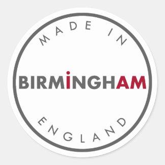 Gemacht in Birmingham-Aufklebern Runder Aufkleber