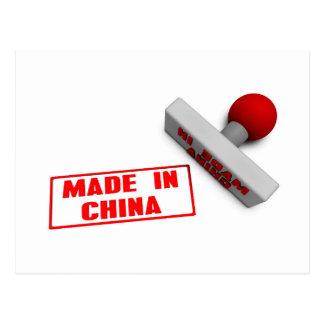 Gemacht in der China-Briefmarke oder dem Hieb auf Postkarte