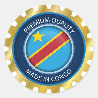 Gemacht in der Kongo-Flagge, Demokratische Runder Aufkleber