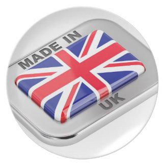 Gemacht in Vereinigtem Königreich Melaminteller