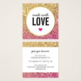 GEMACHT MIT Glitter-Goldrosa der LIEBE niedlichem Quadratische Visitenkarte
