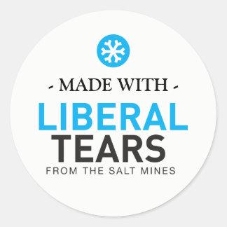 Gemacht mit liberalen Riss-Schneeflocken MAGA Runder Aufkleber