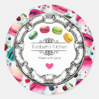 Gemacht mit Liebe Macarons Gebäck-Küchen-Backen Runder Aufkleber