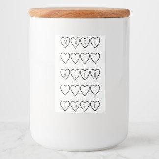 Gemacht mit Liebe-Typografie-Herz-Schwarz-weißem Lebensmitteletikett