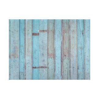 Gemalte blaue hölzerne Strand-Platte Leinwanddruck