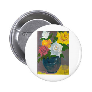 Gemalte Blumen im Vase Runder Button 5,7 Cm