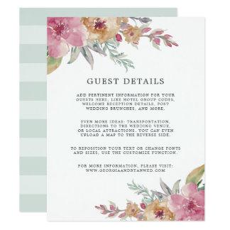 Gemalte Blüte, die Gast-Einzelkarte Wedding ist Karte