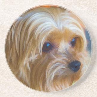Gemalte Dame Yorkshire Terrier Sandstein Untersetzer