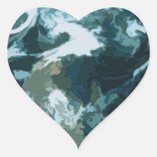 Gemalte Erde Herz-Aufkleber