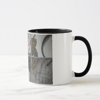 Gemalte Fenster-Szenen-Katze und PferdeTasse Tasse