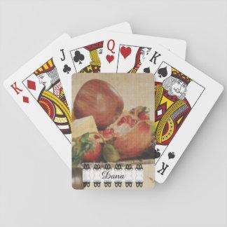 Gemalte Frucht mit Schwarzweiss-Fahne Spielkarten