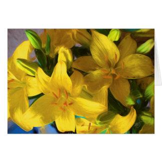 Gemalte gelbe Lilien-Gruß-Karte Grußkarte