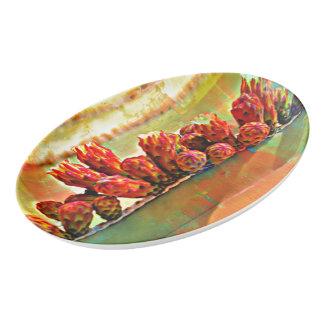 Gemalte Ofen-Rohr-Kaktus-Porzellan-Servierplatte Porzellan Servierplatte