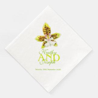 Gemalte Orchideen-Blumenhochzeit genannte Papierserviette