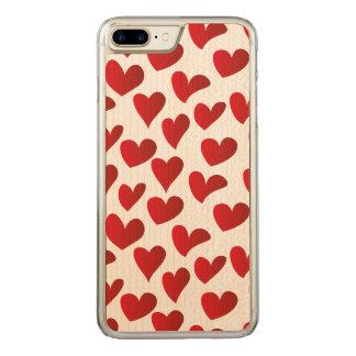 Gemalte rote Herz-Liebe der Illustration Muster Carved iPhone 8 Plus/7 Plus Hülle