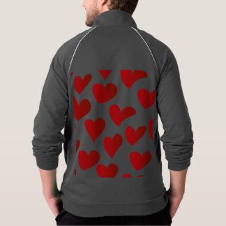 Gemalte rote Herz-Liebe der Illustration Muster Jacke