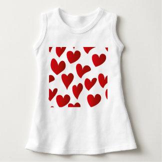 Gemalte rote Herz-Liebe der Illustration Muster Kleid