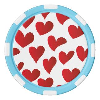 Gemalte rote Herz-Liebe der Illustration Muster Poker Chip Set