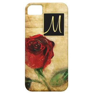 Gemalte Rote Rose - Vintages Monogramm iPhone X iPhone 5 Etuis