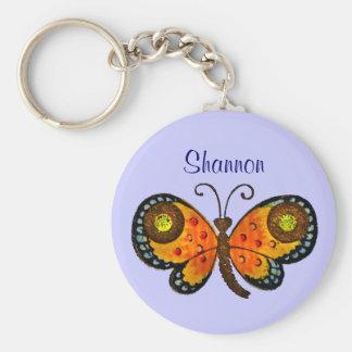 Gemalte Schmetterlings-personalisierte Standard Runder Schlüsselanhänger