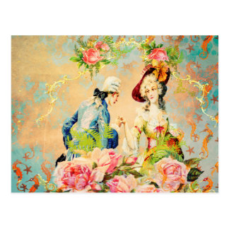 gemalte Seepferde mit der französischen Liebe Postkarte