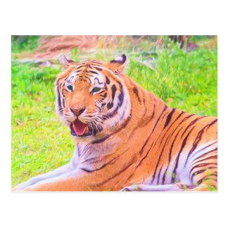 Gemalte sibirischer Tiger-Postkarte Digital Postkarte