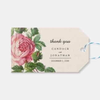 Gemalte Vintage Rose Boho Hochzeit Geschenkanhänger