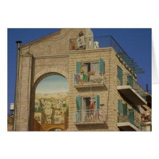 Gemalte Wand eines Hauses in Jerusalem Karte