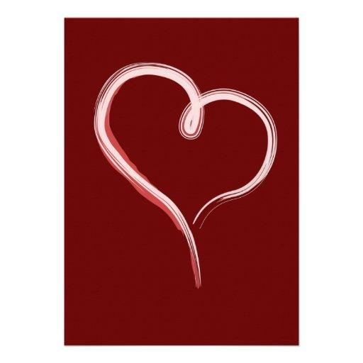 Gemalte weiße Herzeinladung Einladungskarte