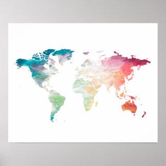 Gemalte Weltkarte Poster