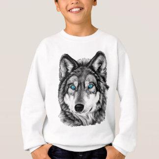 Gemalte Wolfgrayscale-blaue Augen Sweatshirt