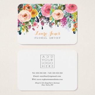 Gemalter Blumenflorist fügen hinzu, Logo-Karten zu Visitenkarte