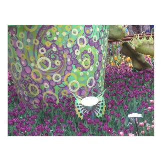 Gemalter Garten-Wand-Blumen-Schmetterling SCHERZT Postkarten